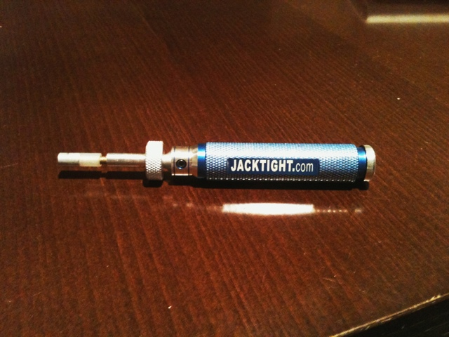 "Jacktight - a new tool for working on 1/4"" jacks on guitars."